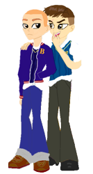 Size: 275x512 | Tagged: safe, artist:kayman13, equestria girls, bully, bully (video game), clothes, crest, crossover, equestria girls-ified, gary smith, hand in pocket, hand on shoulder, jacket, jimmy hopkins, looking at each other, male, scar, school uniform, simple background, transparent background, uniform, unzipped, vest, whispering