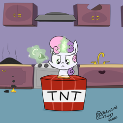 Size: 4000x4000 | Tagged: safe, artist:professionalpuppy, sweetie belle, pony, unicorn, bread, cooking, explosives, female, filly, food, kitchen, levitation, lighter, magic, minecraft, pyro belle, sweetie belle can't cook, sweetie belle's magic brings a great big smile, sweetie fail, telekinesis, this will end in death, this will end in explosions, this will end in tears, this will end in tears and/or breakfast, this will end in tears and/or death, this will end in tears and/or death and/or covered in tree sap, tnt, toast, what could possibly go wrong, xk-class end-of-the-kitchen scenario