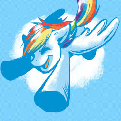 Size: 600x600   Tagged: artist needed, safe, rainbow dash, pegasus, pony, cloud, flying, solo, wings
