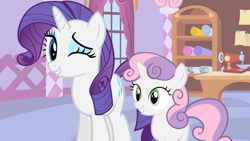 Size: 1920x1080 | Tagged: safe, screencap, rarity, sweetie belle, stare master, happy, one eye closed, sewing machine, slowpoke, wink