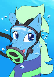 Size: 2480x3508 | Tagged: safe, artist:chef-cheiro, oc, oc:sea glow, pegasus, pony, bubble, full face mask, looking at you, respirator, scuba, scuba diving, scuba gear, smiling, solo, underwater, wetsuit