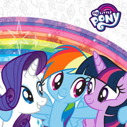 Size: 500x500 | Tagged: safe, rainbow dash, rarity, twilight sparkle, alicorn, pegasus, pony, unicorn, rainbow roadtrip, hug, my little pony logo, official, official artwork, rainbow, twilight sparkle (alicorn)