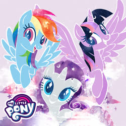Size: 500x500 | Tagged: safe, rainbow dash, rarity, twilight sparkle, alicorn, pegasus, pony, unicorn, my little pony logo, official, official artwork, twilight sparkle (alicorn), wingding eyes