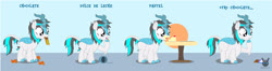 Size: 3826x1008 | Tagged: safe, artist:wheatley r.h., derpibooru exclusive, caramel, oc, oc only, oc:blizzard flare, kirin, ..., cake, chocolate bar, doubt, fat, female, food, kirin oc, mare, one hoof raised, simple background, solo, spanish, spanish text, table, translated in the description, vector, watermark, weight gain, weight gain sequence