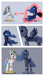 Size: 2680x4624 | Tagged: safe, artist:mechanized515, princess celestia, princess luna, alicorn, pony, robot, robot pony, :o, black sclera, blast, comic, crown, female, glowing eyes, hoof shoes, jewelry, magic, magic beam, magic blast, mare, mind control, open mouth, peytral, raised hoof, regalia, roboticization, salute, siblings