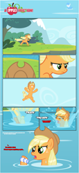 Size: 1919x4225 | Tagged: safe, artist:estories, applejack, earth pony, pony, comic:a(pple)ffection, bracelet, comic, diving, jewelry, solo, water, wet mane