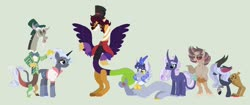 Size: 1280x538 | Tagged: safe, artist:hope-of-morning, discord, rarity, oc, oc:balagan, oc:eros, oc:hurly-burly, oc:tumultuous, draconequus, hybrid, alternate design, base used, draconequus oc, family, green background, interspecies offspring, offspring, parent:discord, parent:rarity, parents:raricord, raricord, shipping, simple background, straight