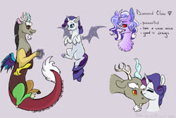 Size: 3000x2000 | Tagged: safe, artist:arirain, discord, rarity, oc, oc:diamond claw, hybrid, artificial wings, augmented, flying, interspecies offspring, magic, magic wings, missing cutie mark, nuzzling, offspring, parent:discord, parent:rarity, parents:raricord, raricord, shipping, straight, wings