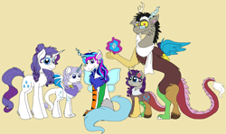 Size: 3171x1891 | Tagged: safe, artist:rosefang16, discord, rarity, oc, hybrid, clothes, family, flower, flower in hair, glasses, interspecies offspring, offspring, parent:discord, parent:rarity, parents:raricord, raricord, scarf, shipping, simple background, straight, yellow background