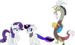Size: 1256x760 | Tagged: safe, artist:klawiee, discord, rarity, oc, oc:apitie, hybrid, interspecies offspring, offspring, parent:discord, parent:rarity, parents:raricord, raricord, shipping, simple background, straight, transparent background