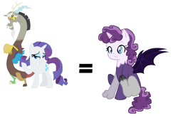 Size: 1048x696 | Tagged: safe, artist:soarindash10, discord, rarity, hybrid, interspecies offspring, offspring, parent:discord, parent:rarity, parents:raricord, raricord, shipping, simple background, straight, white background