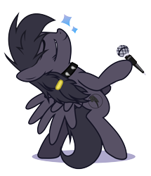 Size: 4400x5120 | Tagged: safe, artist:endlesspossibilities, oc, oc only, oc:mir, pegasus, choker, death metal, female, hair flip, heavy metal, lifted hoof, metal, microphone, microphone stand, rocking out, simple background, singing, stars, transparent background
