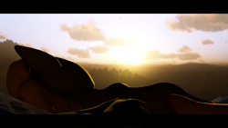 Size: 1920x1080   Tagged: safe, artist:awgear, oc, oc:calamity, pegasus, fallout equestria, spoiler:red dead redemption 2, cloud, corpse, dead, death, good end, male, peaceful, red dead redemption 2, sky, sunrise