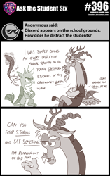 Size: 800x1274 | Tagged: safe, artist:sintakhra, discord, gallus, draconequus, griffon, tumblr:studentsix, annoyed, disembodied tail, gallus is not amused, teasing, tickling, unamused