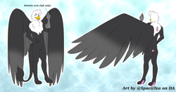 Size: 905x473 | Tagged: safe, artist:spaciitea, oc, oc:calamity atom, anthro, griffon, amputee, anthro oc, featureless crotch, large wings, male, mechanical claw, prosthetic limb, prosthetics, wings
