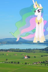 Size: 1280x1933 | Tagged: safe, artist:90sigma, artist:jerryakiraclassics19, princess celestia, pony, female, giant pony, giantess, giantlestia, highrise ponies, hoof shoes, house, irl, macro, mega celestia, photo, ponies in real life, tree, village