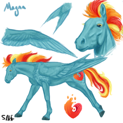 Size: 600x600 | Tagged: safe, artist:sdlhf, oc, oc only, oc:magna, pegasus, pony, bio in description, female, hoers, mare, offspring, parent:rainbow dash, parent:soarin', parents:soarindash, realistic, reference sheet, simple background, solo, tail feathers, white background