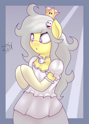 Size: 1836x2545 | Tagged: safe, artist:big brawler, oc, oc only, oc:spettra, oc:spokey, earth pony, ghost, ghost pony, pony, semi-anthro, bipedal, booette, clothes, cosplay, costume, dress, female, jewelry, necklace, rule 63, solo, super crown