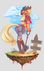 Size: 1440x2316 | Tagged: safe, artist:spaboofy, applejack, anthro, plantigrade anthro, apple, boots, breasts, busty applejack, cloud, cowboy boots, dirt cube, female, fence, food, front knot midriff, midriff, shoes, shovel, sky, solo