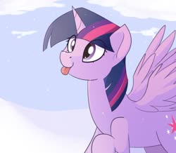 Size: 1280x1117 | Tagged: safe, artist:pillowsword, twilight sparkle, alicorn, pony, :p, cloud, cute, eye clipping through hair, female, mare, snow, snowfall, snowflake, solo, spread wings, tongue out, twiabetes, twilight sparkle (alicorn), wings, winter