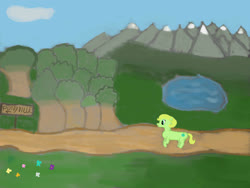 Size: 1408x1056 | Tagged: safe, artist:hypnodreamsearcher, oc, oc only, earth pony, pony, female, lake, mare, mountain, sign, solo, tree
