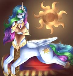 Size: 1280x1338 | Tagged: safe, artist:the-savage-huntress, princess celestia, anthro, centaur, ponytaur, ponytaur challenge