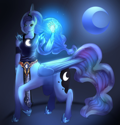 Size: 1280x1338 | Tagged: safe, artist:the-savage-huntress, princess luna, anthro, centaur, anthro centaur, ponytaur, ponytaur challenge