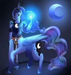 Size: 1280x1338 | Tagged: safe, artist:the-savage-huntress, princess luna, anthro, centaur, ponytaur, ponytaur challenge