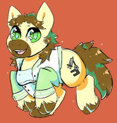 Size: 1130x1187 | Tagged: safe, artist:skyeskyekitty, oc, oc only, oc:calpain, earth pony, pony, clothes, goggles, happy, lab coat, solo