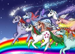 Size: 800x571 | Tagged: safe, artist:katriona-seallach, amethyst star, gusty, majesty, powder, skyflier, sparkler, sunbeam, twilight, pony, unicorn, female, g1, group, horn, mare, rainbow, running