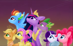 Size: 962x606 | Tagged: safe, artist:dusthiel, applejack, fluttershy, pinkie pie, rainbow dash, rarity, spike, twilight sparkle, alicorn, dragon, earth pony, pegasus, pony, unicorn, the last problem, spoiler:s09e26, cropped, crown, female, group, jewelry, looking up, male, mane seven, mane six, mare, older, older applejack, older fluttershy, older mane 6, older mane 7, older pinkie pie, older rainbow dash, older rarity, older spike, older twilight, peytral, princess twilight 2.0, regalia, twilight sparkle (alicorn)