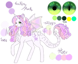 Size: 998x815   Tagged: safe, artist:malinraf1615, oc, oc:crytal song belle, dracony, hybrid, chest fluff, color palette, cute, dragon eyes, eye, eyes, female, interspecies offspring, offspring, one eye closed, parent:spike, parent:sweetie belle, parents:spikebelle, reference sheet, simple background, solo, tongue out, transparent background, watermark, wink