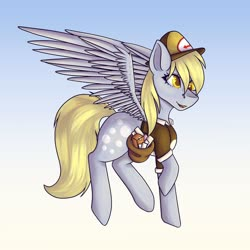 Size: 1024x1024 | Tagged: safe, artist:lunagalaxy2003, derpy hooves, pegasus, pony, female, flying, mailbag, mailmare, mailmare uniform, mare, sky, solo
