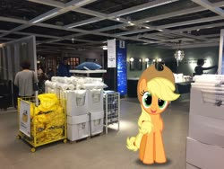 Size: 3264x2448   Tagged: safe, edit, editor:topsangtheman, vector edit, applejack, earth pony, pony, ikea, irl, looking at you, photo, ponies in real life, vector