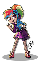 Size: 1151x1771 | Tagged: safe, artist:tassji-s, rainbow dash, human, equestria girls, friendship through the ages, rainbow rocks, alternate hairstyle, cute, dashabetes, devil horn (gesture), fishnets, hand on hip, human coloration, humanized, ponytail, rainbow punk, solo, tongue out