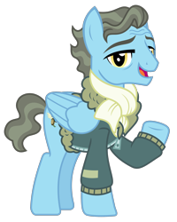 Size: 2000x2496 | Tagged: safe, artist:sketchmcreations, wind rider, pegasus, pony, clothes, jacket, looking at you, male, open mouth, raised hoof, scarf, simple background, stallion, transparent background, vector