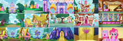 Size: 3948x1333 | Tagged: safe, artist:spookitty, pinkie pie, background, building, carousel boutique, collage, cupcake, door, food, pony tale adventures, pta, sucker, suckers, sugarcube corner, sweet apple acres, twilight's castle