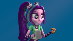 Size: 1920x1080 | Tagged: safe, artist:zefrenchm, aria blaze, equestria girls, 3d, blue background, bracelet, bread, croissant, eating, food, jewelry, mug, simple background, solo, source filmmaker