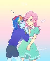 Size: 1020x1248 | Tagged: safe, artist:laochi777, fluttershy, rainbow dash, equestria girls, blushing, female, flutterdash, heart, lesbian, shipping, younger
