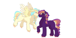 Size: 1280x640 | Tagged: safe, artist:itstechtock, oc, oc only, oc:indigo, oc:oasis, earth pony, pegasus, pony, braided tail, female, mare, nuzzling, simple background, transparent background, two toned wings, wings