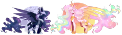 Size: 1600x470 | Tagged: safe, artist:akiiichaos, princess celestia, princess luna, pony, alternate design, curved horn, deviantart watermark, horn, obtrusive watermark, simple background, transparent background, two toned wings, watermark, wings