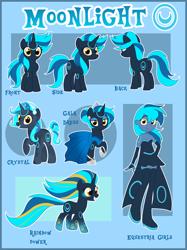 Size: 1488x1994 | Tagged: safe, artist:xwhitedreamsx, oc, oc:moonlight gala dress, crystal pony, pony, unicorn, equestria girls, crystallized, female, mare, rainbow power, reference sheet, solo