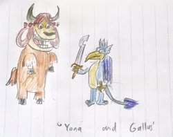 Size: 2825x2240 | Tagged: safe, artist:horsesplease, gallus, yona, griffon, yak, bow, cloven hooves, colored pencil drawing, cow and chicken, female, gallus the rooster, hair bow, khopesh, lined paper, male, monkey swings, style emulation, sword, traditional art, weapon