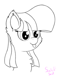 Size: 1484x1909   Tagged: safe, artist:sealedseal, oc, oc:sealed seal, pony, bust, female, mare, monochrome, portrait, solo, tongue out