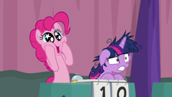 Size: 1920x1080 | Tagged: safe, screencap, pinkie pie, twilight sparkle, alicorn, earth pony, a trivial pursuit, spoiler:s09e16, bell, duo, excited, female, floppy ears, hooves on cheeks, mare, messy mane, nervous, open mouth, pinkie being pinkie, starry eyes, team twipie, trivia trot, twilight sparkle (alicorn), wingding eyes