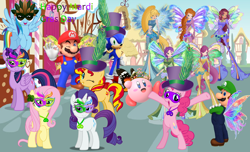 Size: 3280x1996 | Tagged: safe, artist:andoanimalia, artist:dashiesparkle, artist:jhayarr23, artist:kooner-cz, artist:luckreza8, artist:user15432, fluttershy, pinkie pie, rainbow dash, rarity, sunset shimmer, twilight sparkle, alicorn, butterfly, earth pony, fairy, hedgehog, human, pegasus, pony, unicorn, aisha, bloom (winx club), butterfly wings, crossover, crown, fairies, fairies are magic, fairy wings, female, flower, hat, holiday, jewelry, kirby, kirby (character), kirby pie, layla, luigi, luigidash, luigishy, male, mardi gras, maridash, mario, mario & luigi, mario & sonic, mario and sonic, mariopie, marioshy, mask, necklace, nintendo, onyrix, ponyville, rainbow s.r.l, regalia, roxy (winx club), sega, sonic the hedgehog, sonic the hedgehog (series), sonicdash, stella (winx club), sugarcube corner, super mario bros., super smash bros., tecna, twilight sparkle (alicorn), wings, winx, winx club, world of winx