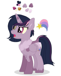 Size: 627x778   Tagged: safe, artist:basecbitch, artist:magicuniclaws, oc, oc:shooting star, alicorn, hybrid, pony, base used, cutie mark, ear fluff, female, heterochromia, interspecies offspring, mare, offspring, parent:discord, parent:twilight sparkle, parents:discolight, simple background, solo, transparent background, unshorn fetlocks