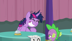 Size: 1920x1080 | Tagged: safe, screencap, spike, twilight sparkle, alicorn, dragon, a trivial pursuit, spoiler:s09e16, bell, messy mane, twilight snapple, twilight sparkle (alicorn), winged spike