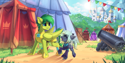 Size: 2131x1080 | Tagged: safe, artist:redchetgreen, oc, oc only, earth pony, pegasus, pony, armor, canterlot castle