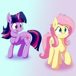 Size: 3300x3300 | Tagged: safe, artist:yinglongfujun, fluttershy, twilight sparkle, alicorn, pegasus, pony, blushing, chest fluff, duo, female, mare
